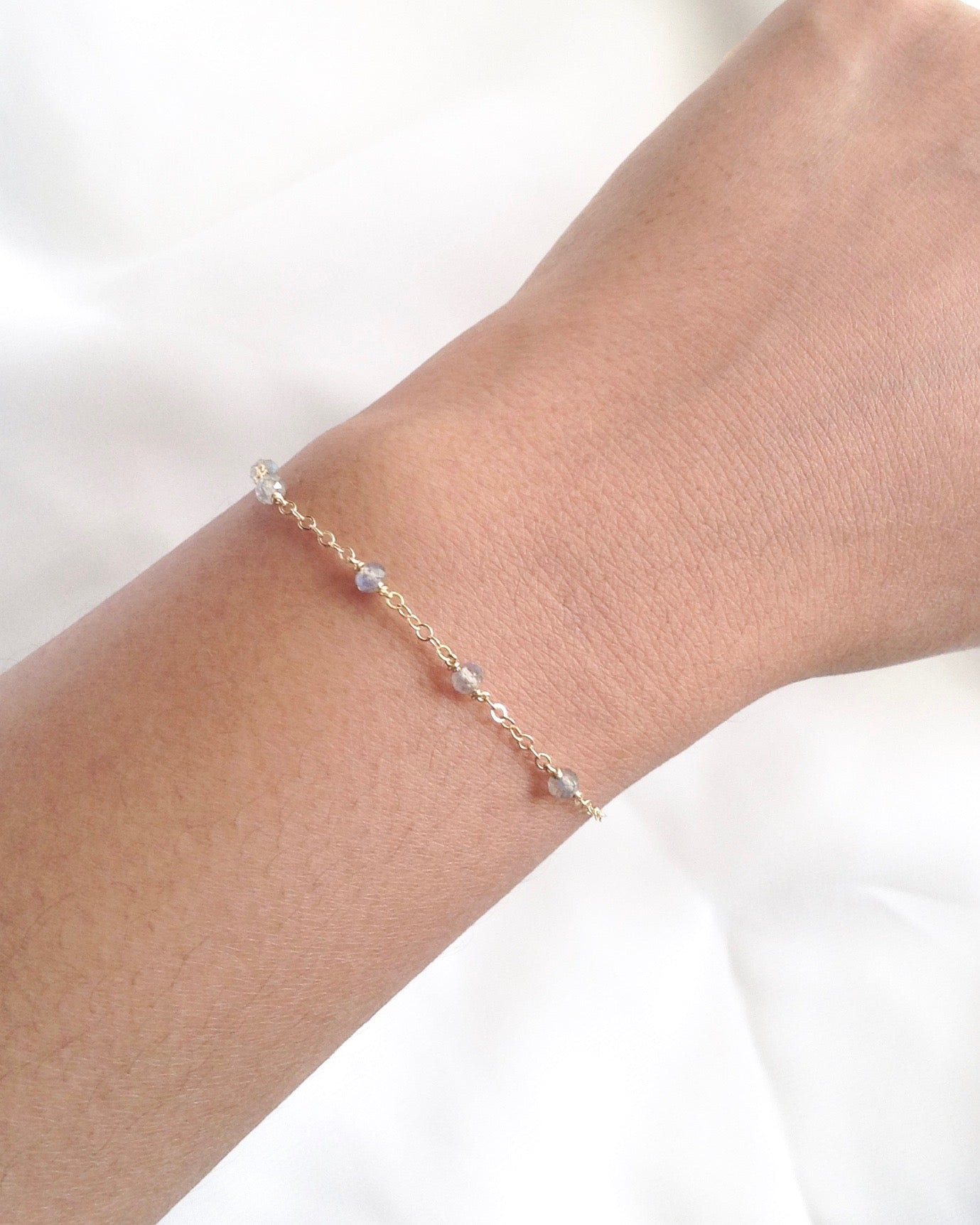 Labradorite Delicate Gemstone Bracelet | Simple Gemstone Bracelet | IB Jewelry