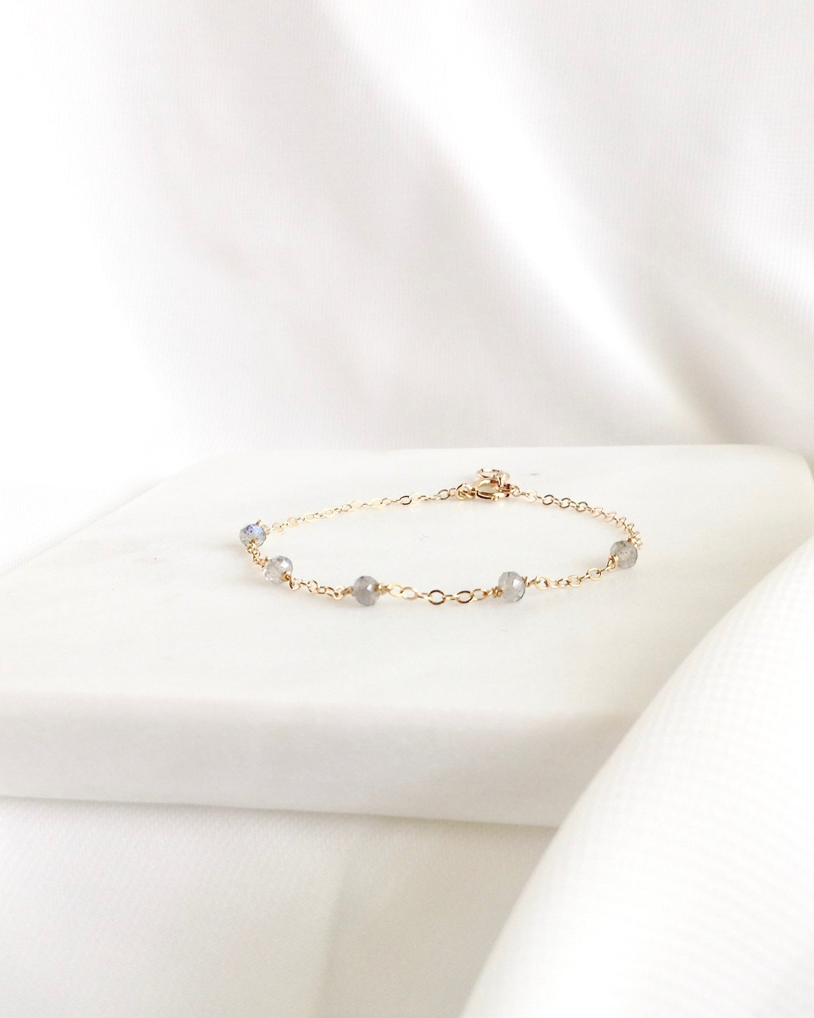 Labradorite Dainty Everyday Bracelet | Simple Delicate Chain Bracelet | IB Jewelry