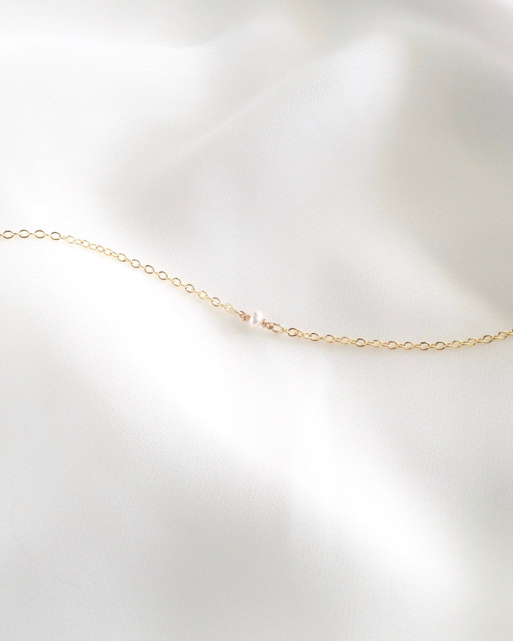 Single Pearl Dainty Chain Bracelet In Gold Filled or Sterling Silver | IB Jewelry