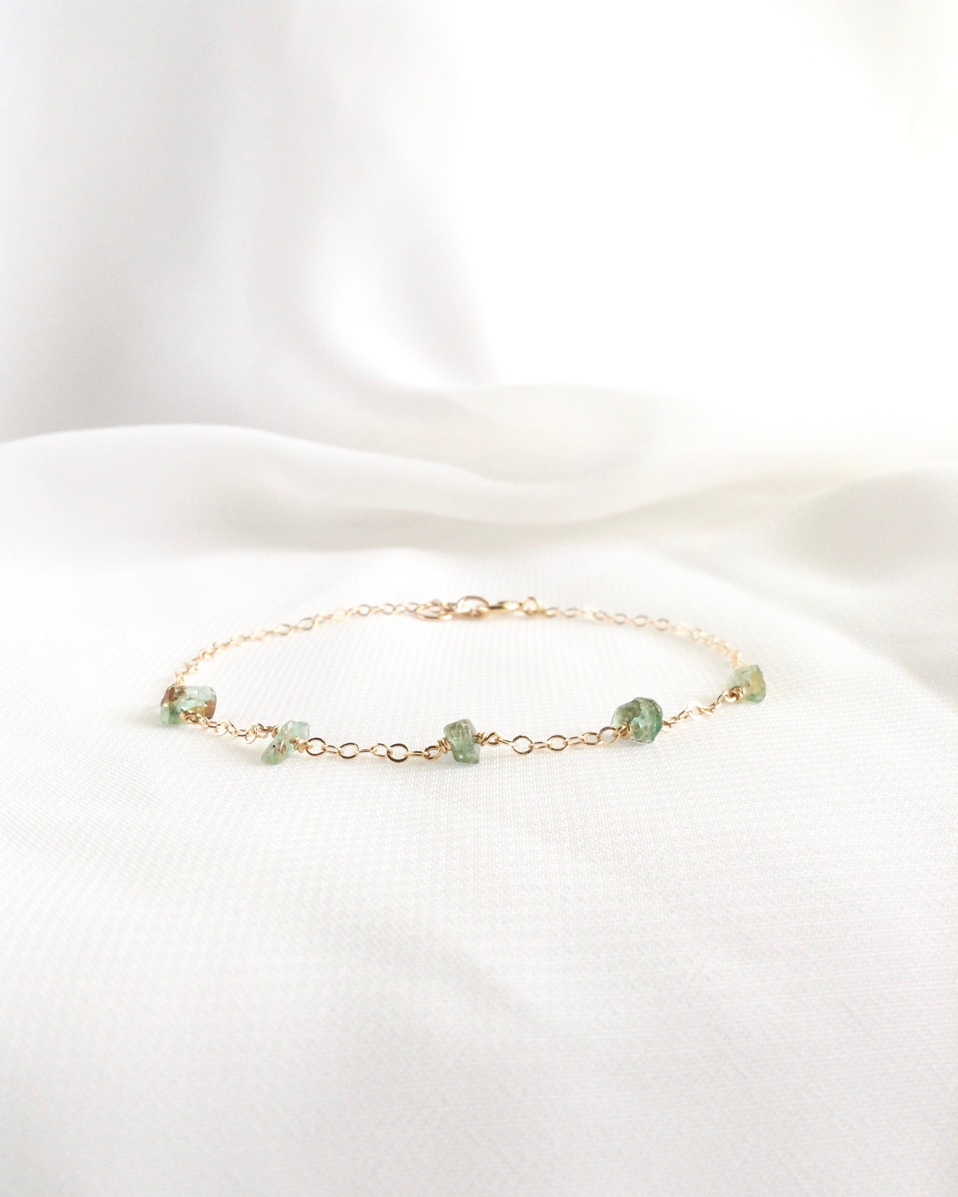 Raw Emerald Bracelet | Dainty Gemstone Bracelet | IB Jewelry