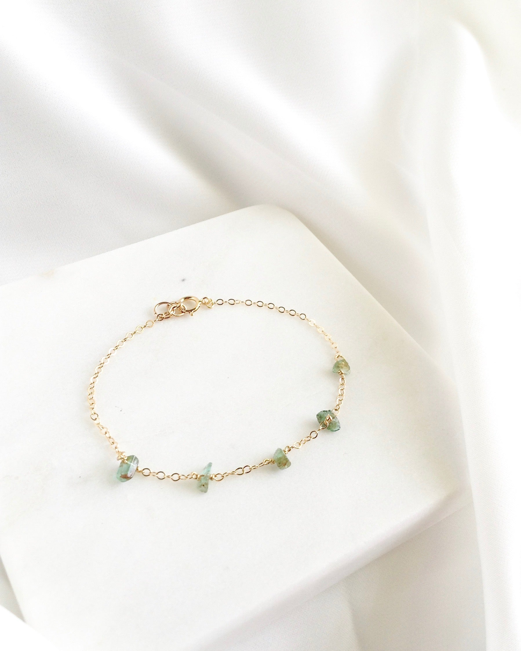 Colombian Emerald Bracelet in Gold Filled or Sterling Silver | IB Jewelry