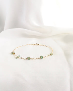 Delicate Emerald Bracelet in Gold Filled or Sterling Silver | IB Jewelry