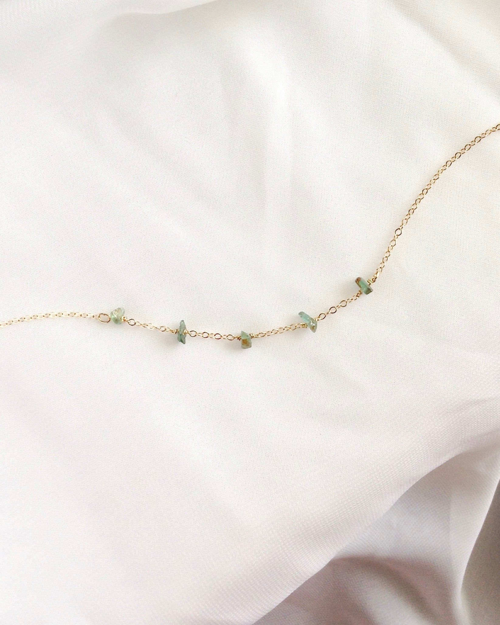 Emerald Raw Stone Bracelet In Gold Filled or Sterling Silver | IB Jewelry