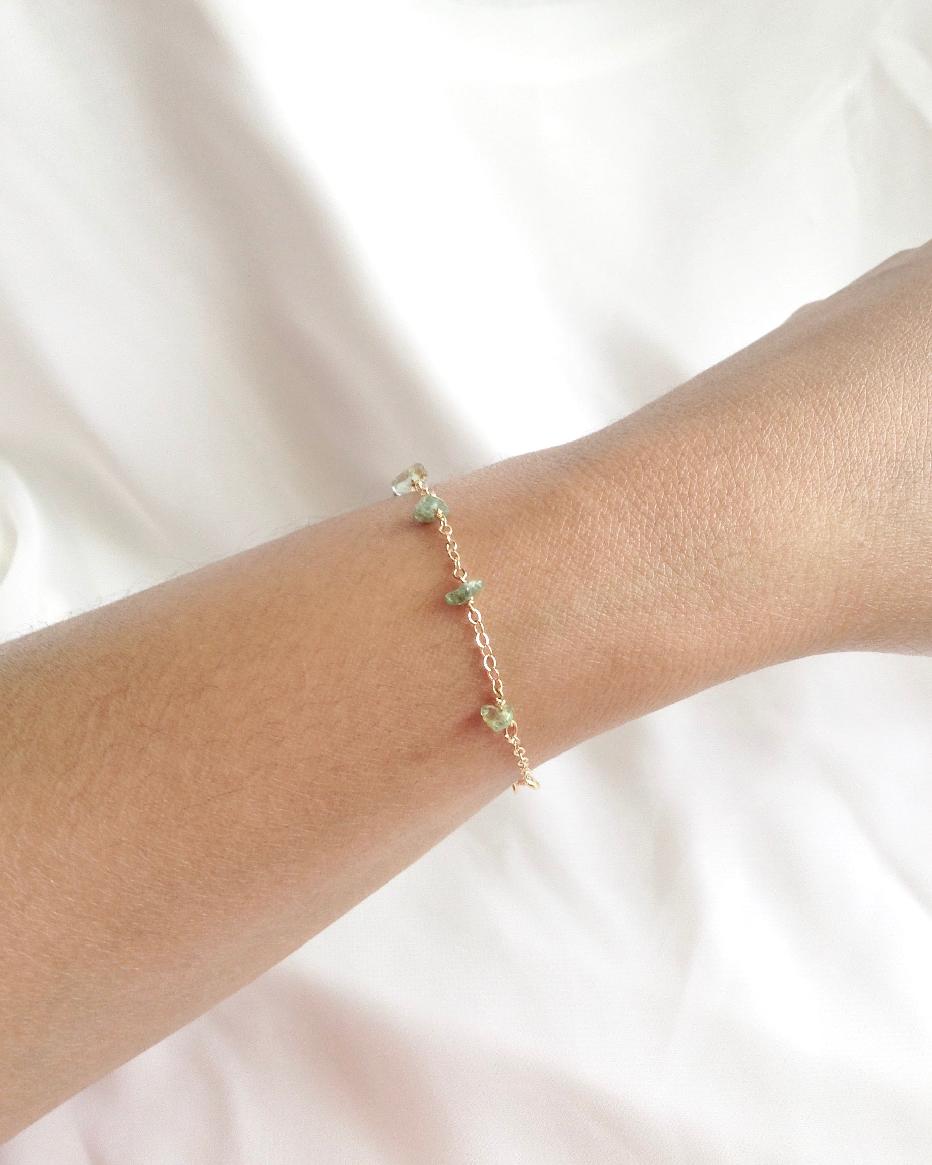 Dainty Emerald Bracelet in Gold Filled or Sterling Silver | IB Jewelry