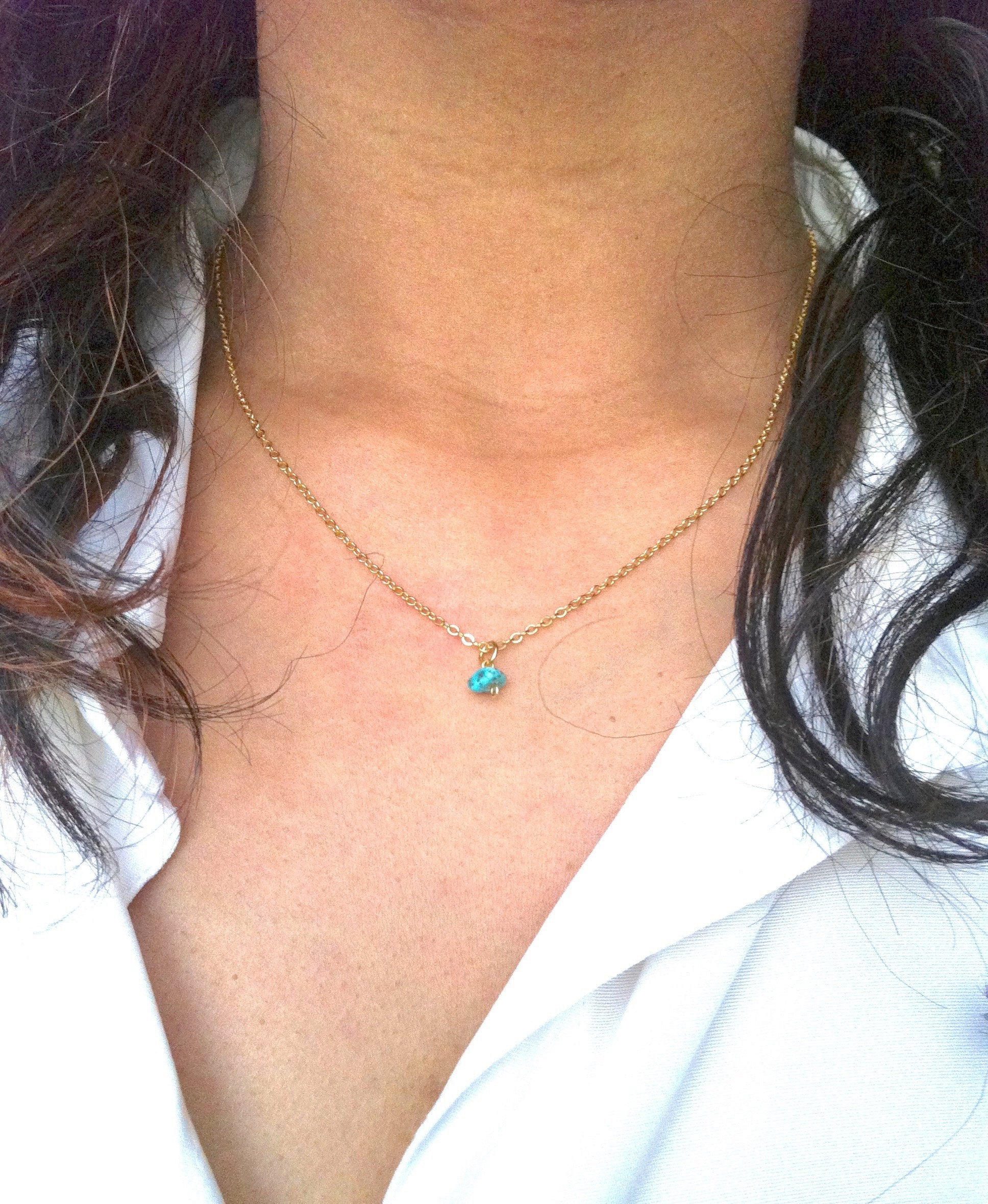 Minimalist Delicate Turquoise Drop Necklace | IB Jewelry