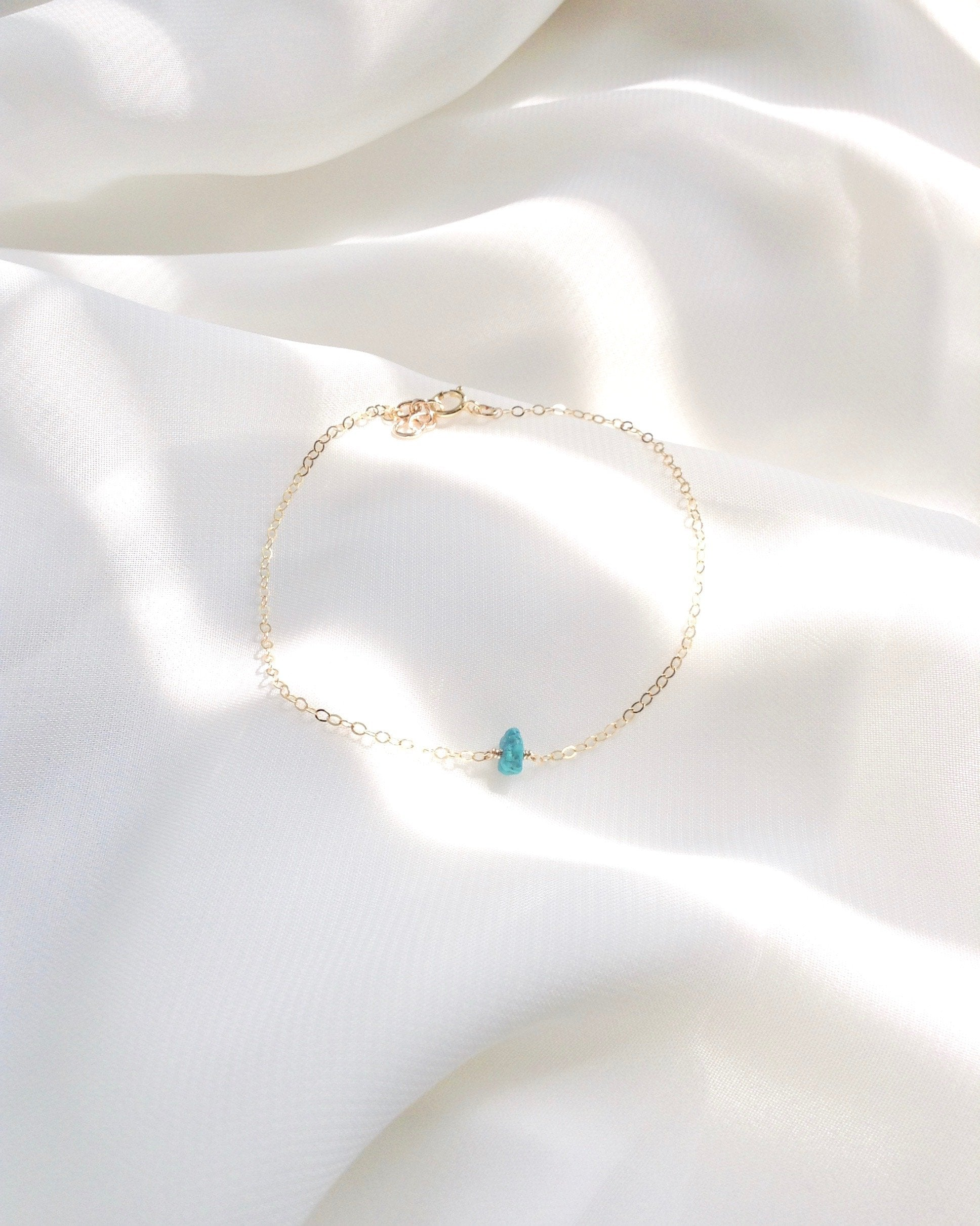 Dainty Turquoise Bracelet In Gold Filled or Sterling Silver | Delicate Minimalist Jewelry | IB Jewelry