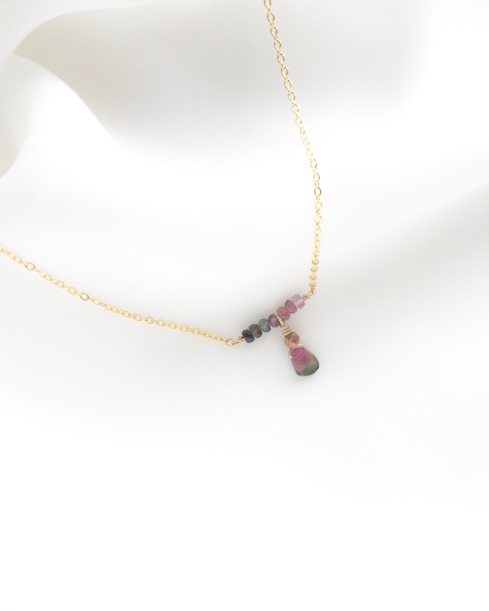 Watermelon Tourmaline Necklace in Gold Filled or Sterling Silver | IB Jewelry