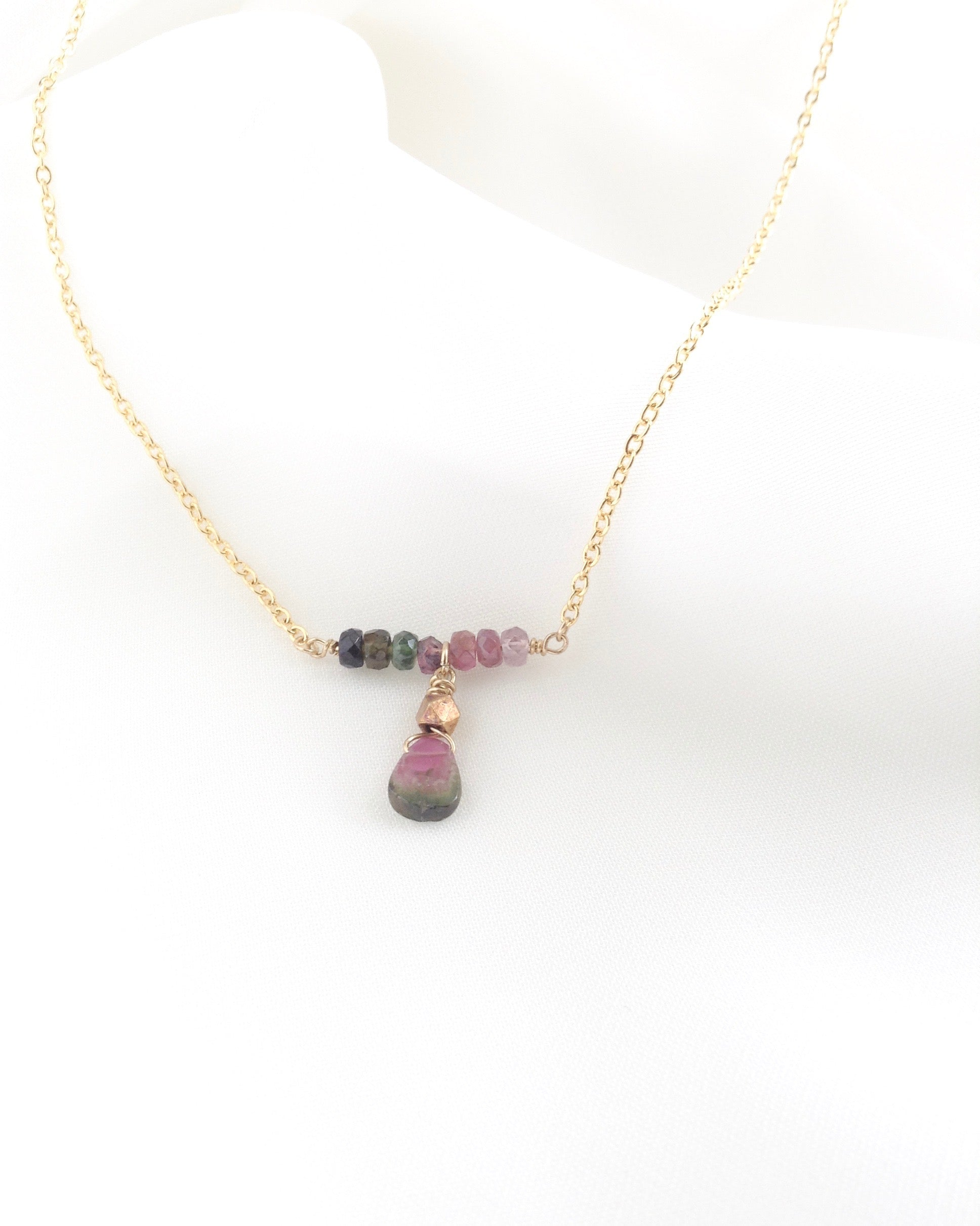 Rainbow Tourmaline Necklace in Gold Filled or Sterling Silver | Delicate Gemstone Necklace | IB Jewelry