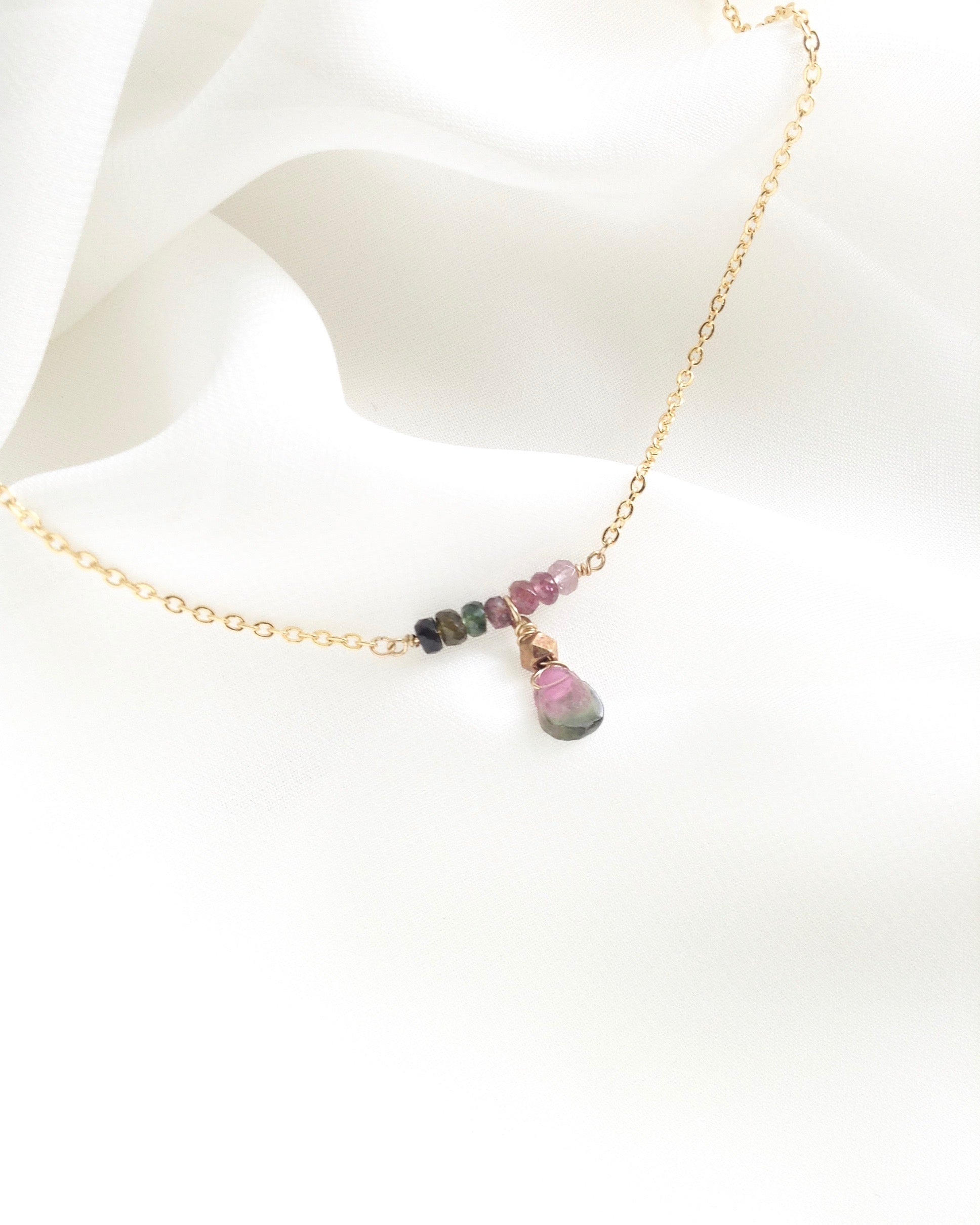 Delicate Tourmaline Necklace in Gold Filled or Sterling Silver | IB Jewelry