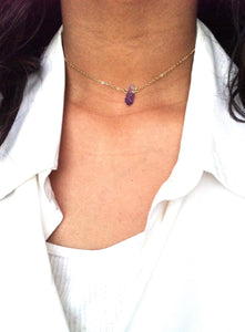 Raw Amethyst Gemstone Choker Necklace | IB Jewelry