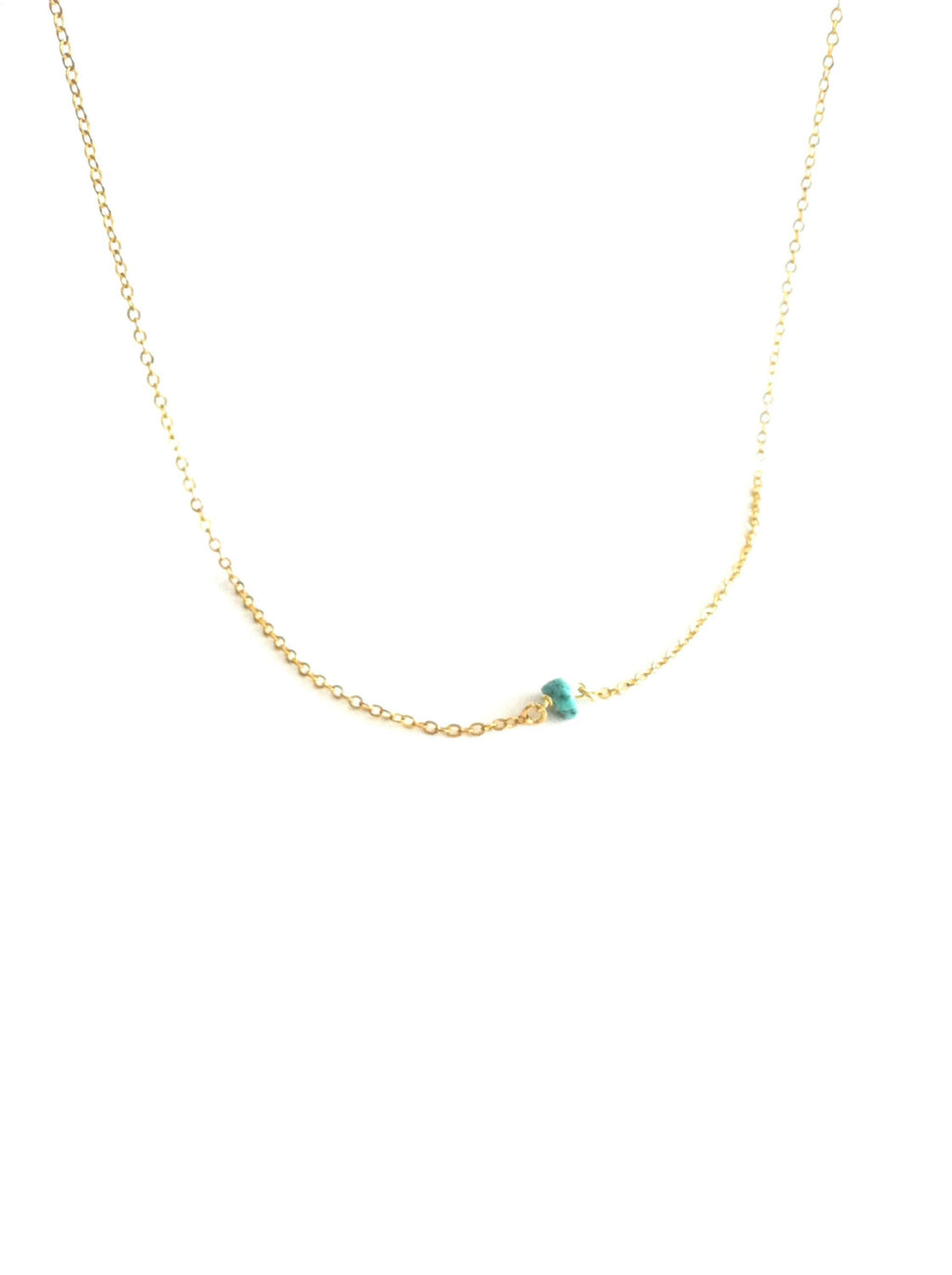 Tiny Dainty Turquoise Thin Chain Necklace | IB Jewelry