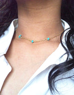 Delicate Turquoise Magnesite Tiny Bead Choker Necklace | IB Jewelry