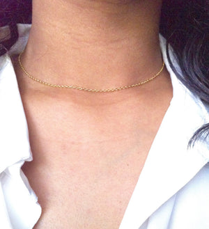 Minimal Thin Chain Choker Necklace | IB Jewelry