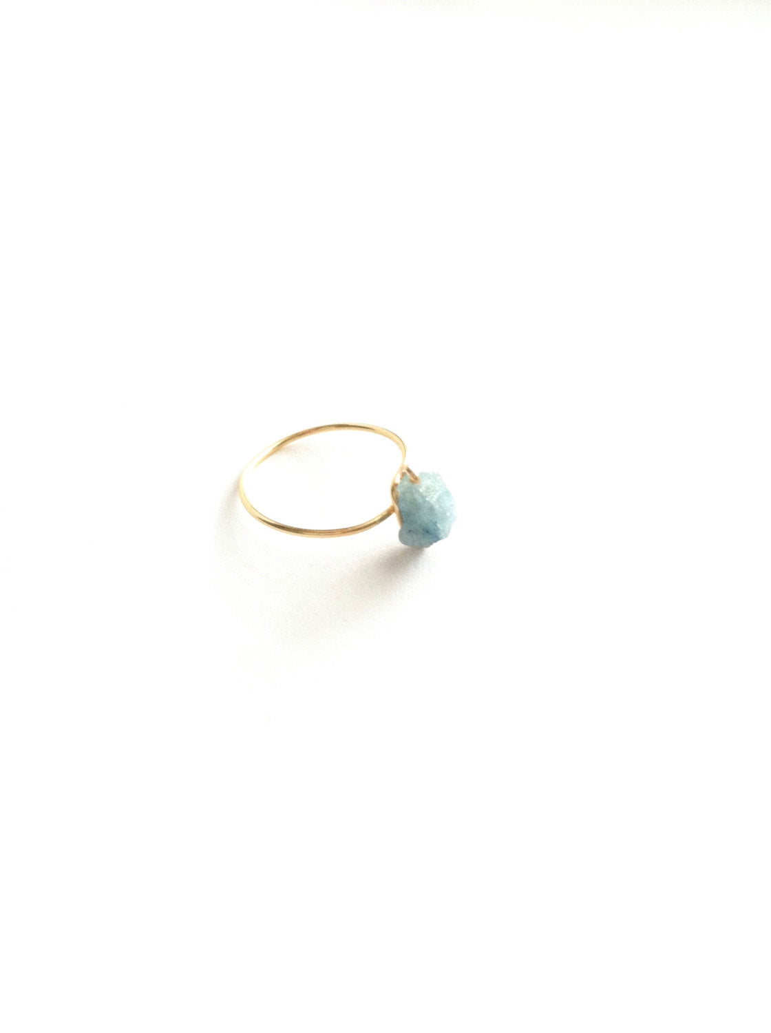 Raw Aquamarine Thin Band Gemstone Ring | IB Jewelry