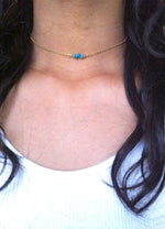 Bead Bar Tiny Turquoise Choker Necklace | Dainty Turquise Choker | IB Jewelry
