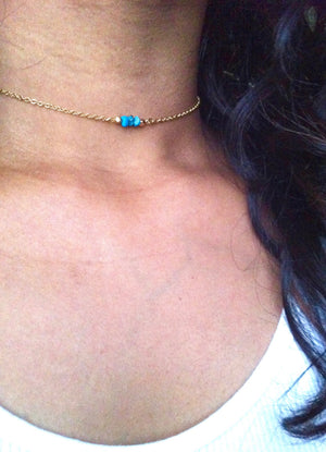 Bead Bar Tiny Turquoise Choker Necklace | Dainty Chain Choker in Gold Filled or Sterling Silver | IB Jewelry