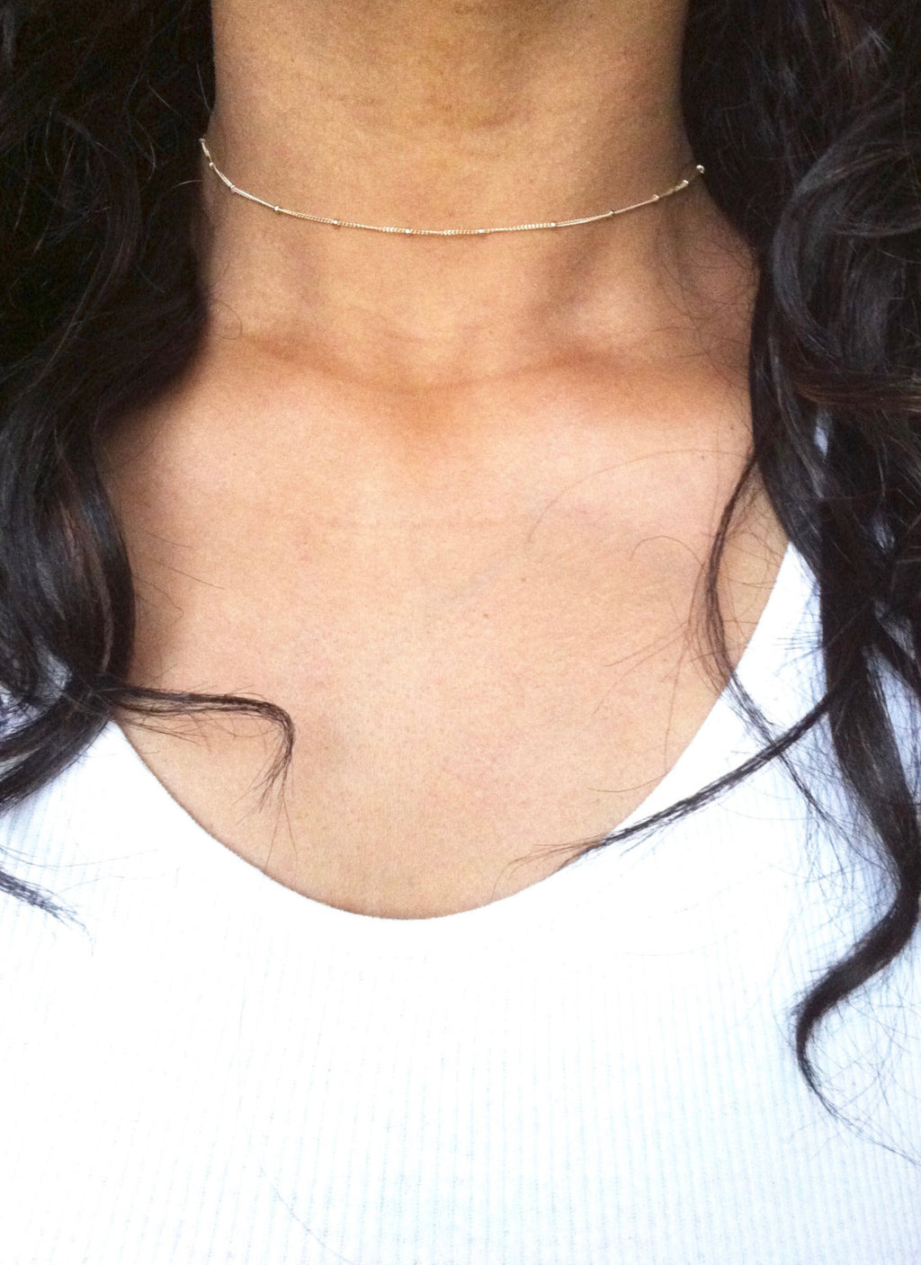 Dainty Satellite Thin Chain Choker Necklace | IB Jewelry