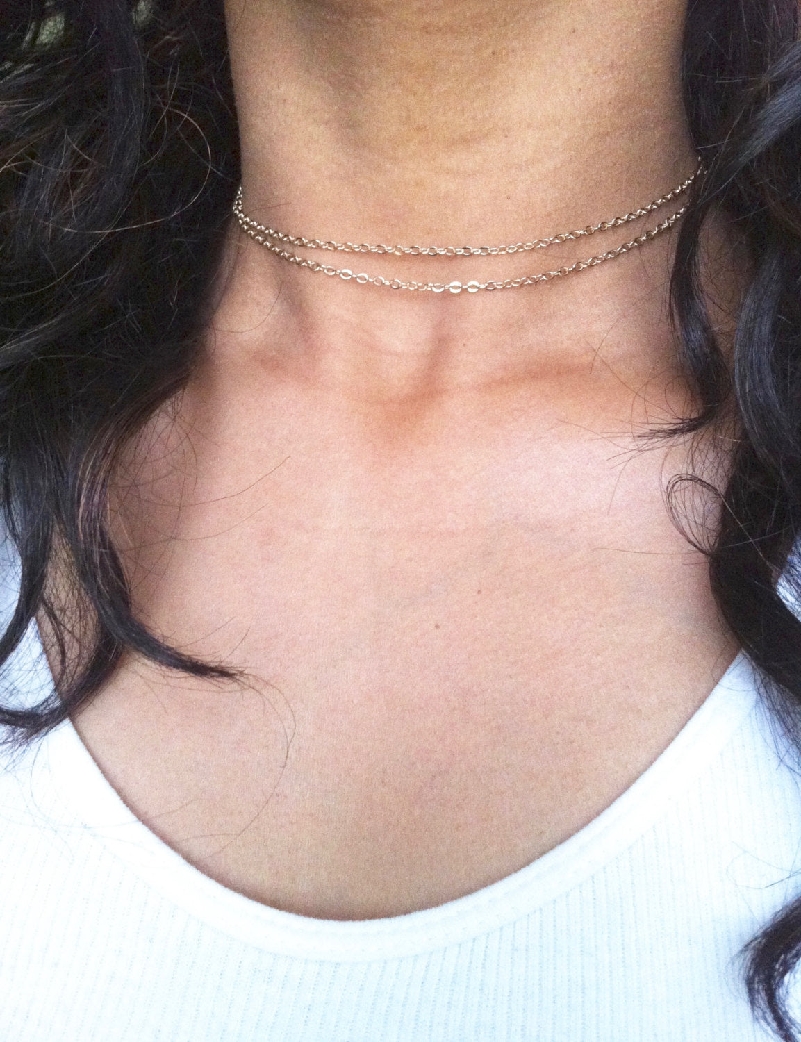 Thin Chain Double Strand Necklace | IB Jewelry