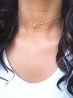 Minimal Thin Chain Bow Choker Necklace | IB Jewelry