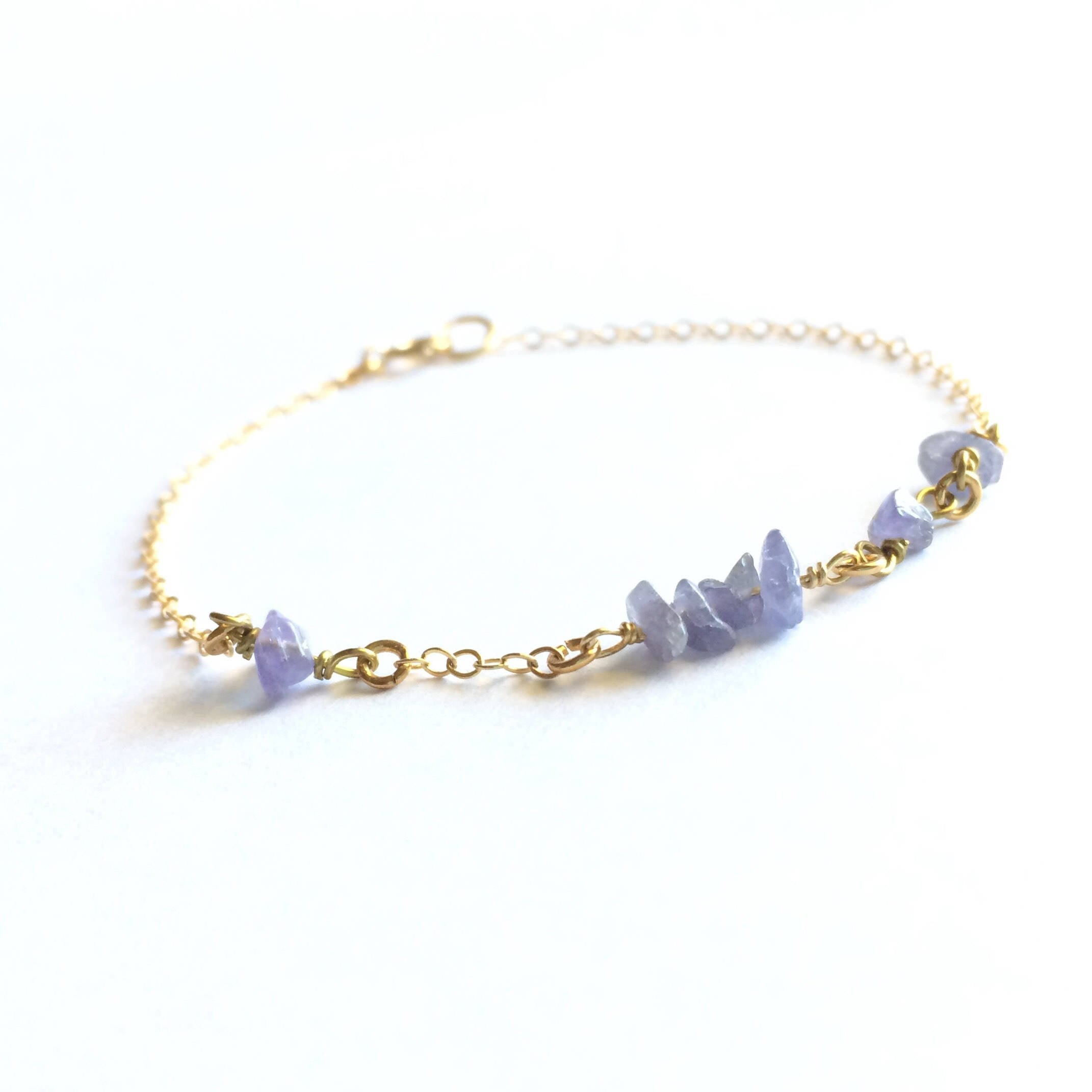 Tiny Delicate Tanzanite Bracelet | IB Jewelry