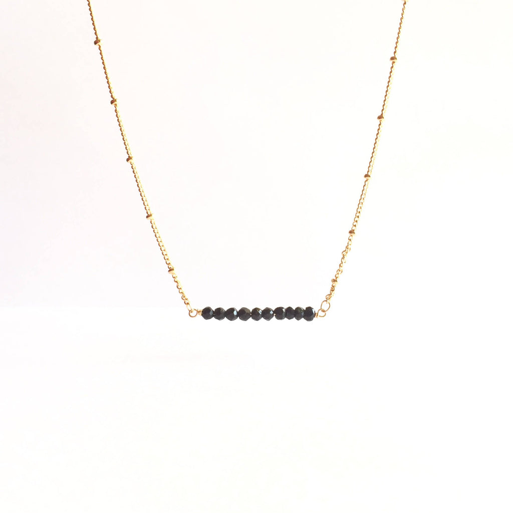 Black Tourmaline Gemstone Bar Satellite Chain Necklace | IB Jewelry