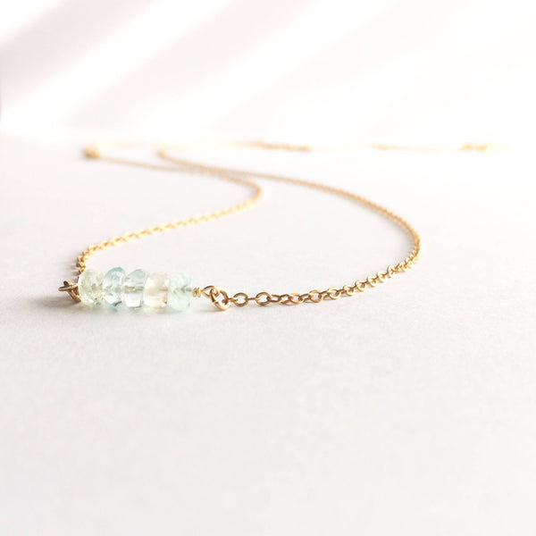 Aquamarine Bar Necklace | IB Jewelry
