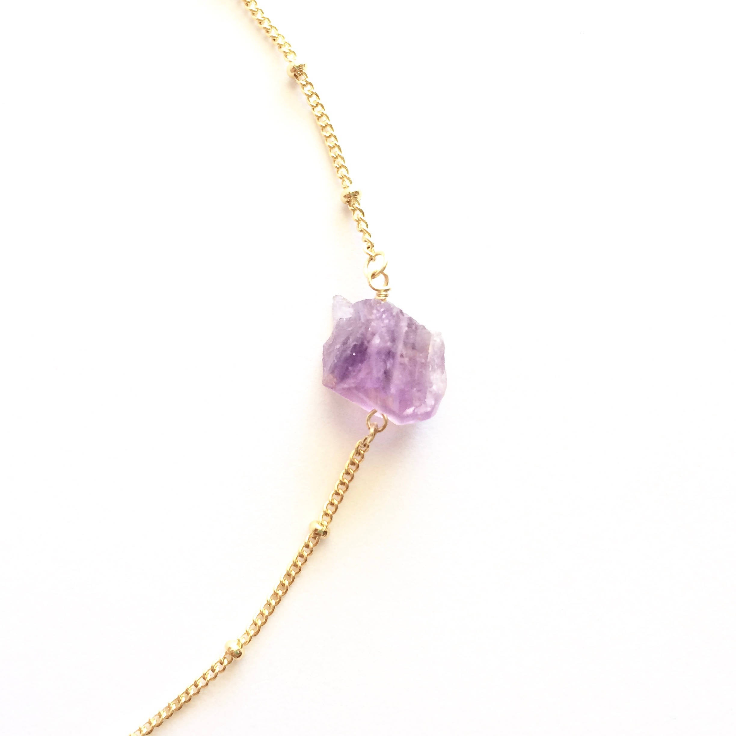 Rough Cut Amethyst Satellite Chain Necklace | Natural Amethyst Jewelry | IB Jewelry | IB Jewelry