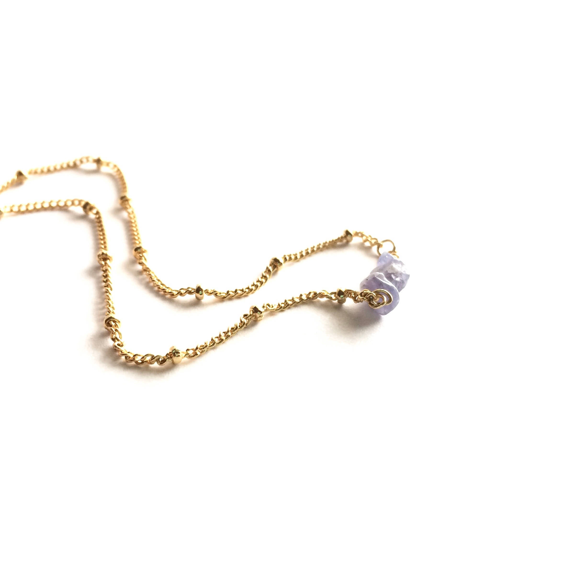 Raw Tanzanite Satellite Chain Rough Gemstone Necklace | IB Jewelry