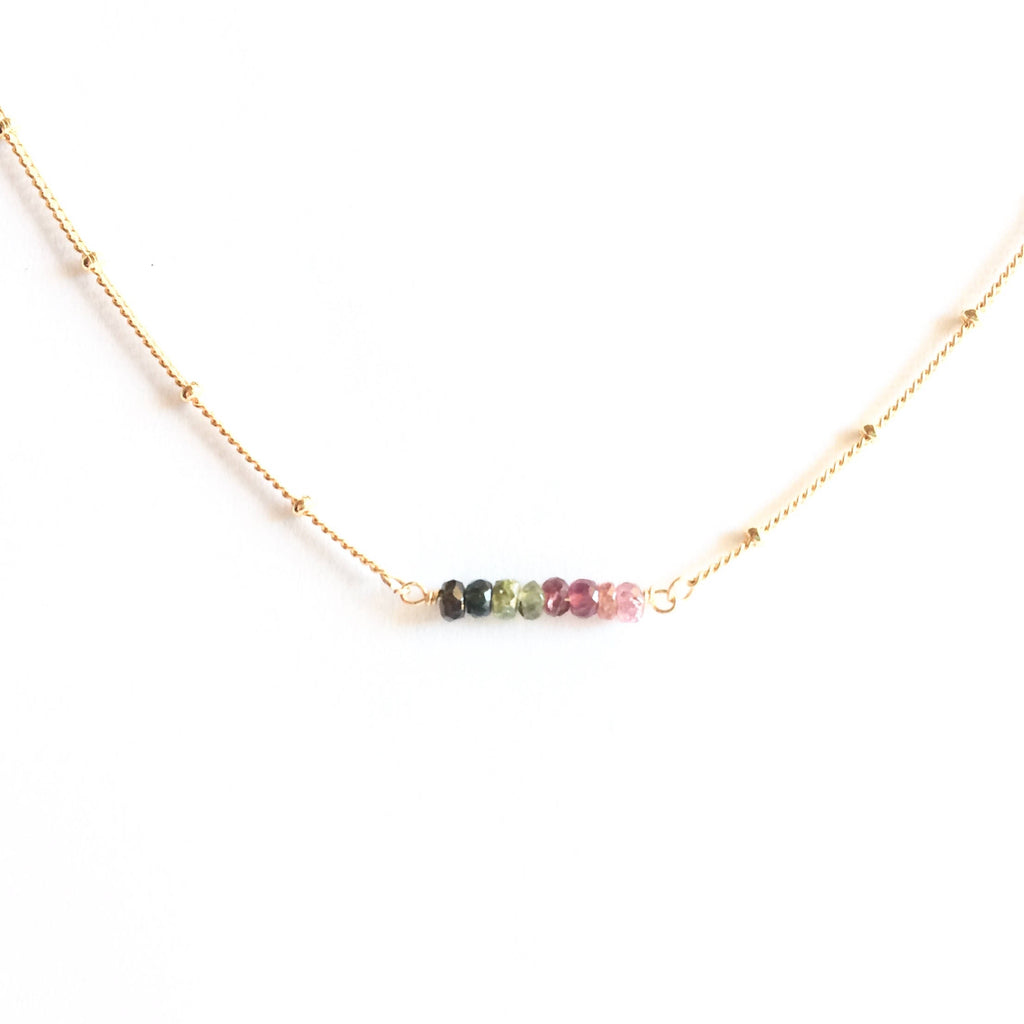 Tiny Watermelon Tourmaline Satellite Chain Bar Necklace | IB Jewelry
