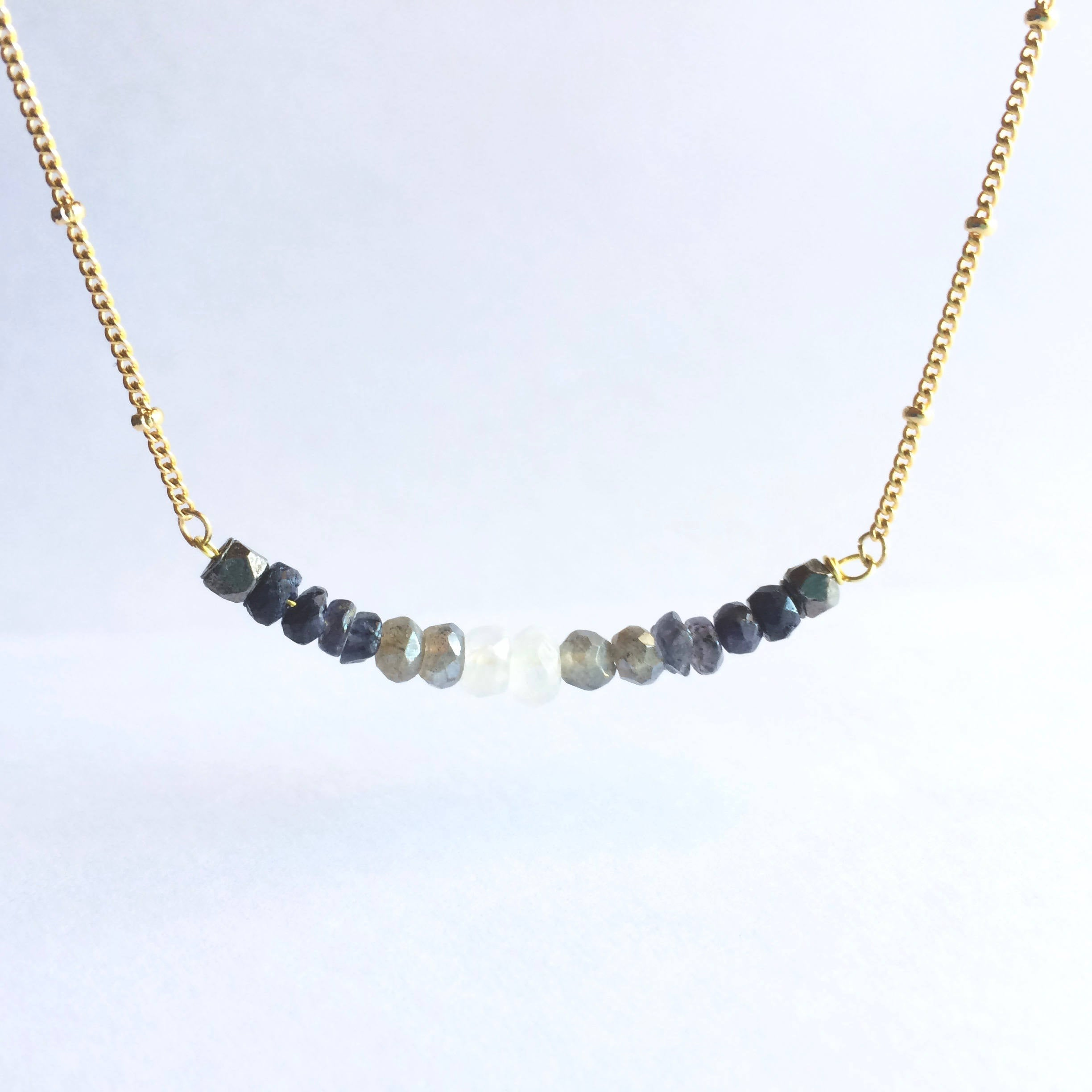 Moon Phase Ombre Gemstone Bar Satellite Chain Necklace | IB Jewelry