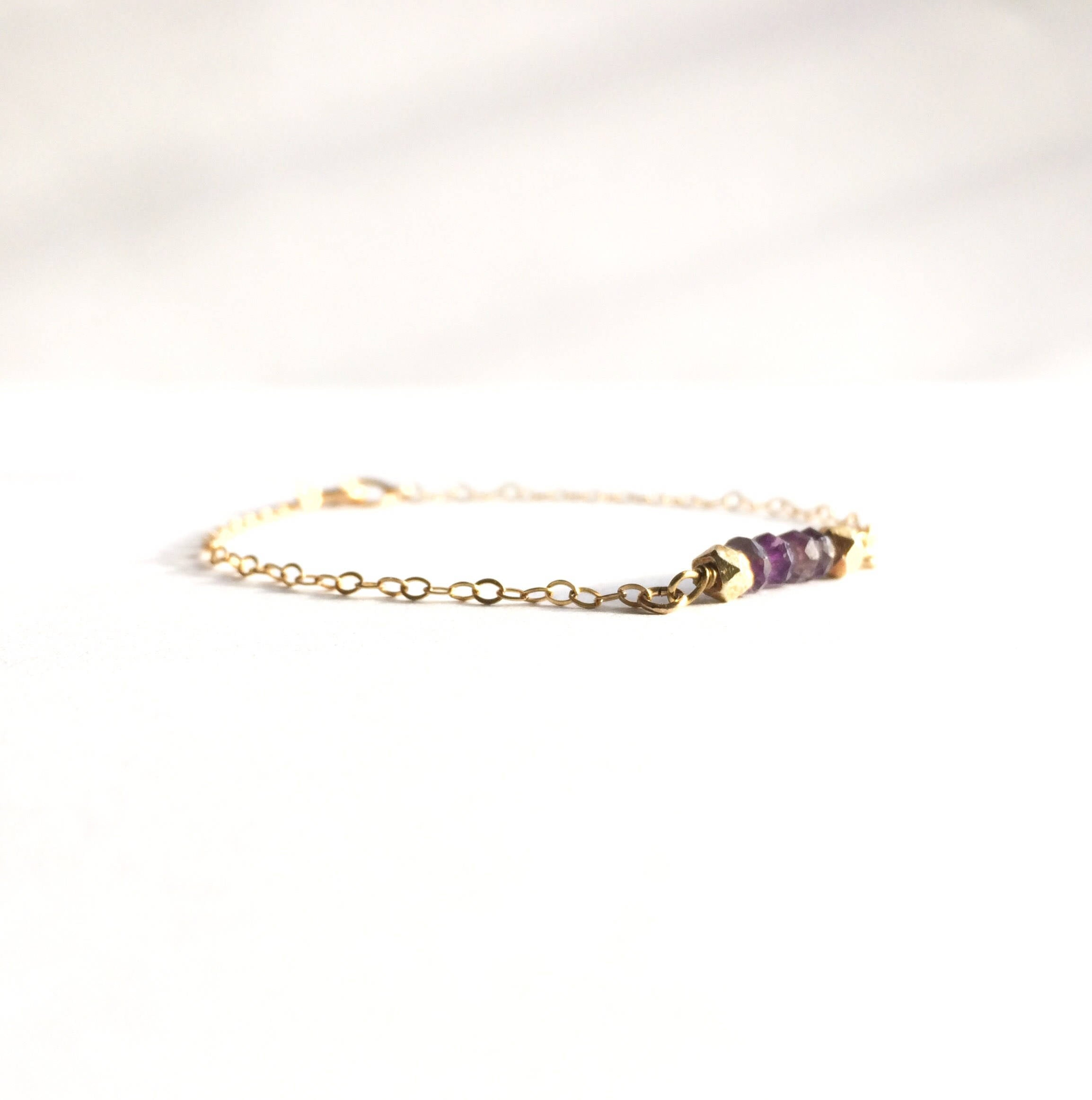 Tiny Amethyst Gemstone Short Bar Bracelet | IB Jewelry