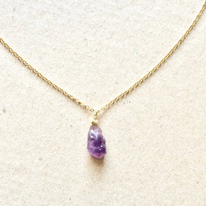 Real Raw Amethyst Crystal Necklace | Natural Amethyst Jewelry | IB Jewelry | IB Jewelry