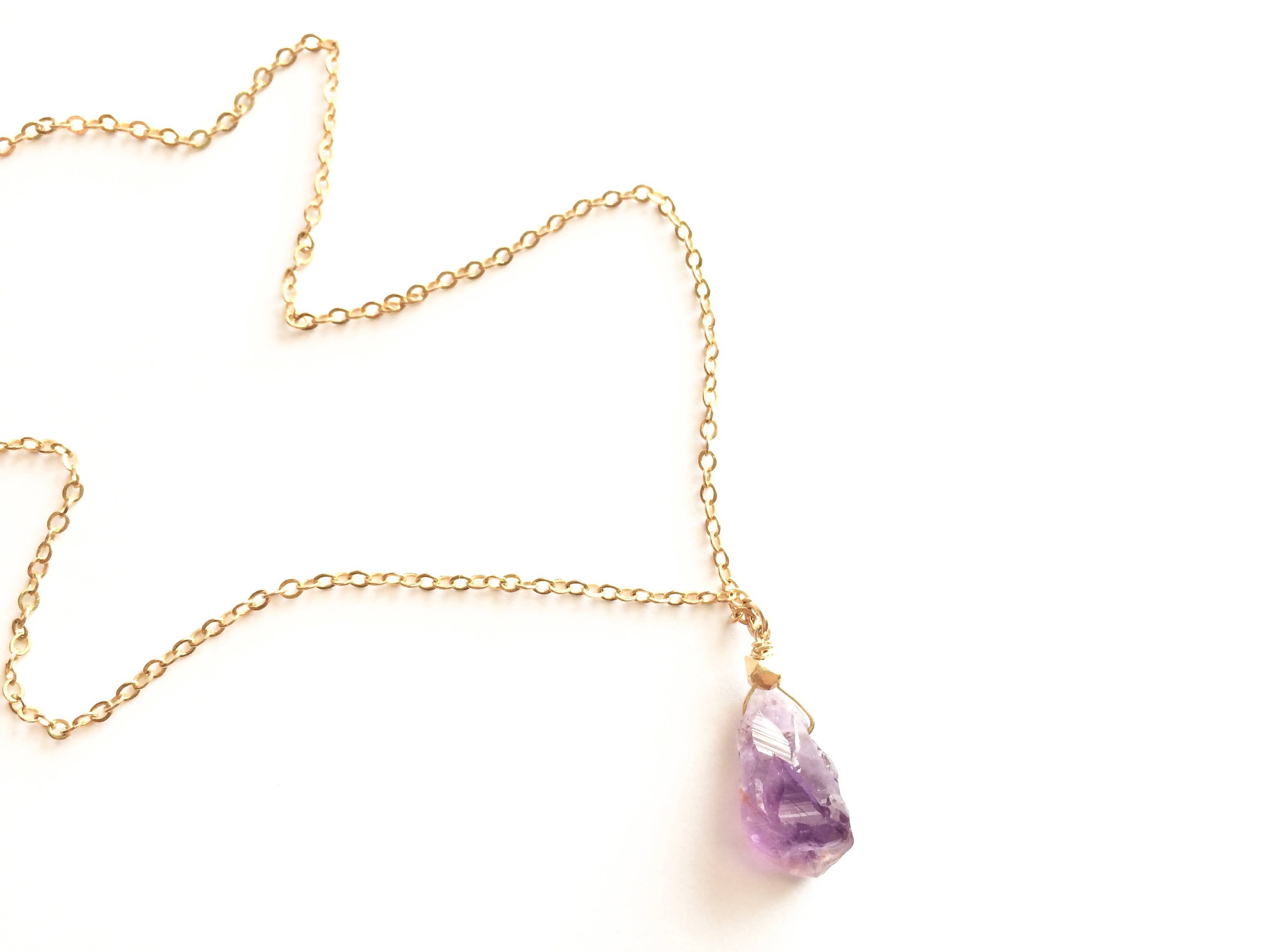 Raw Amethyst Simple Rough Gemstone Drop Necklace | IB Jewelry