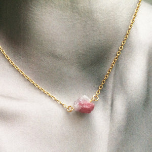 Raw Pink Tourmaline Delicate Rough Gemstone Necklace | IB Jewelry