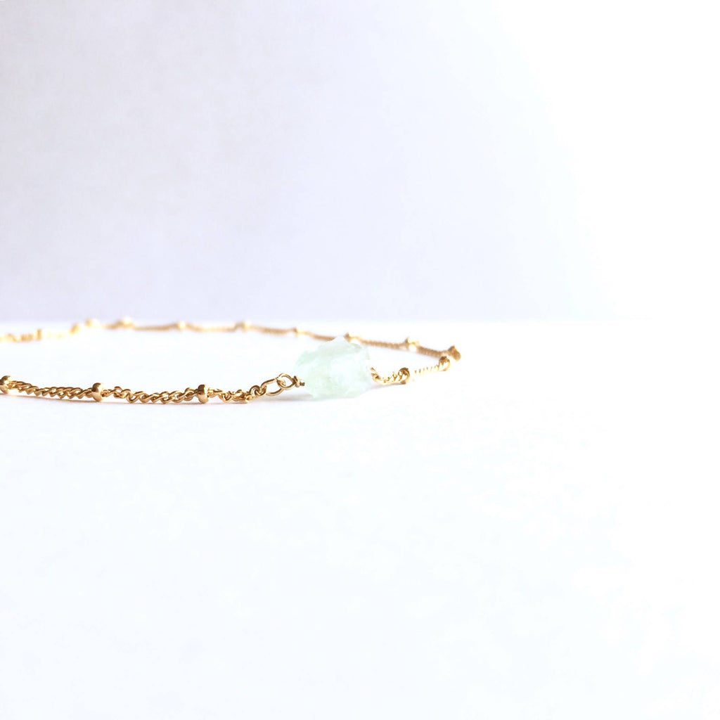 Raw Aquamarine Gemstone Satellite Chain Necklace | IB Jewelry