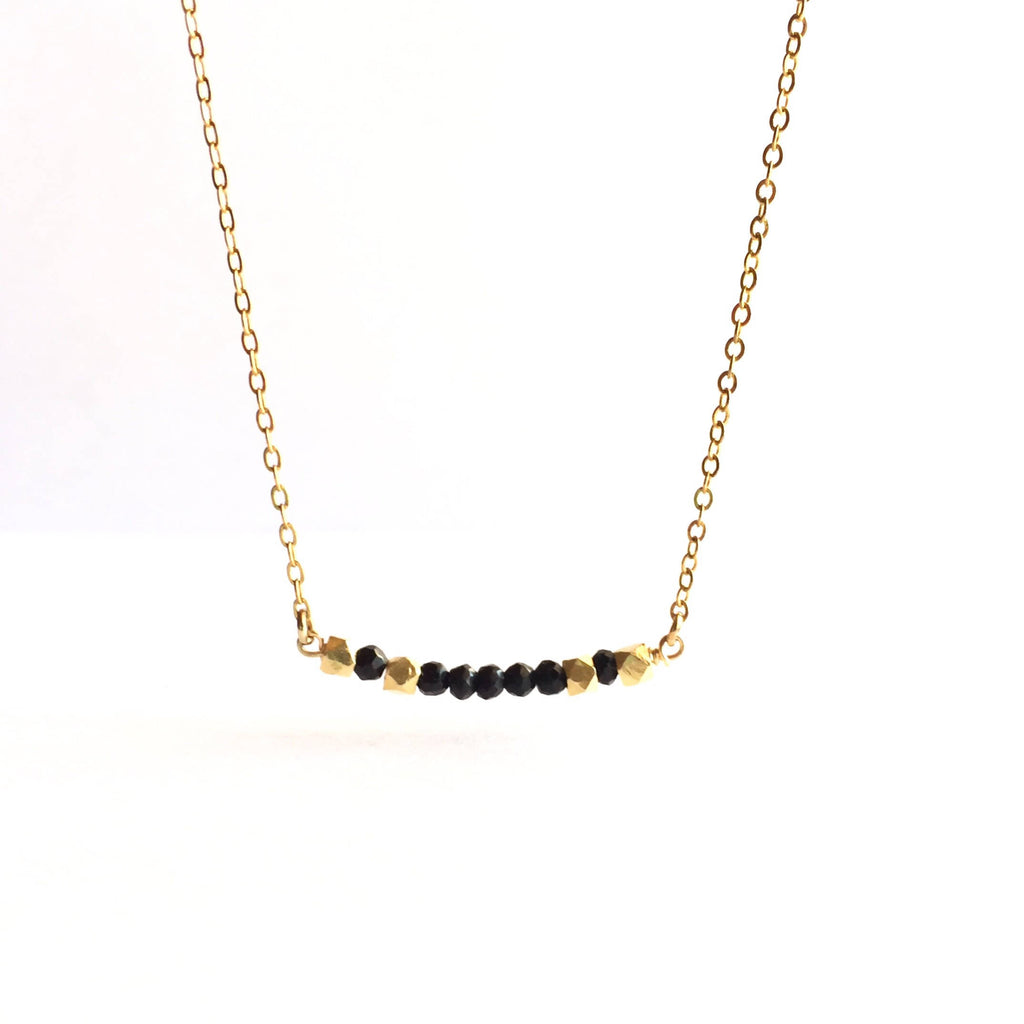 Delicate Black Tourmaline Gemstone Choker Necklace | IB Jewelry
