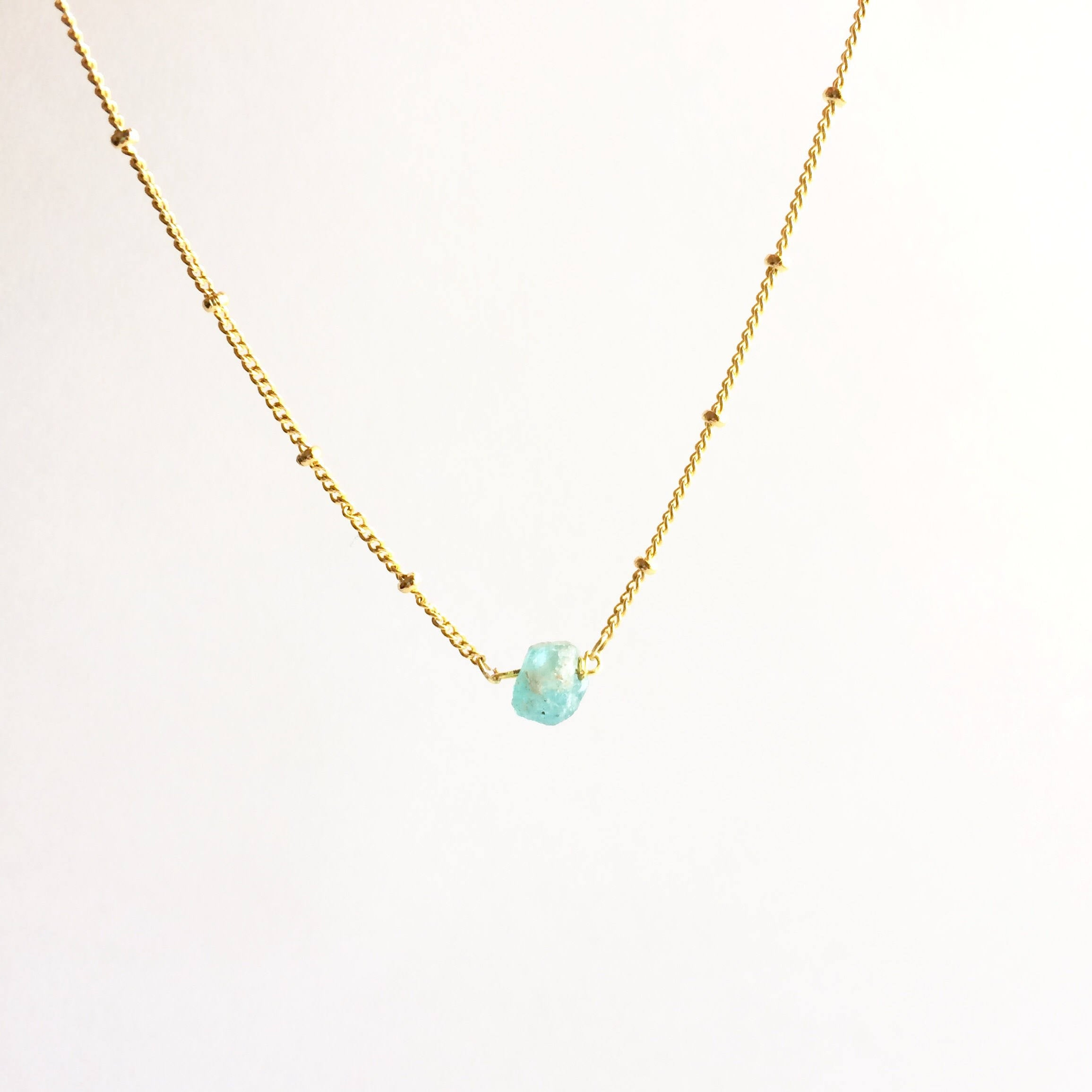 Raw Apatite Rough Gemstone Satellite Chain Necklace | IB Jewelry