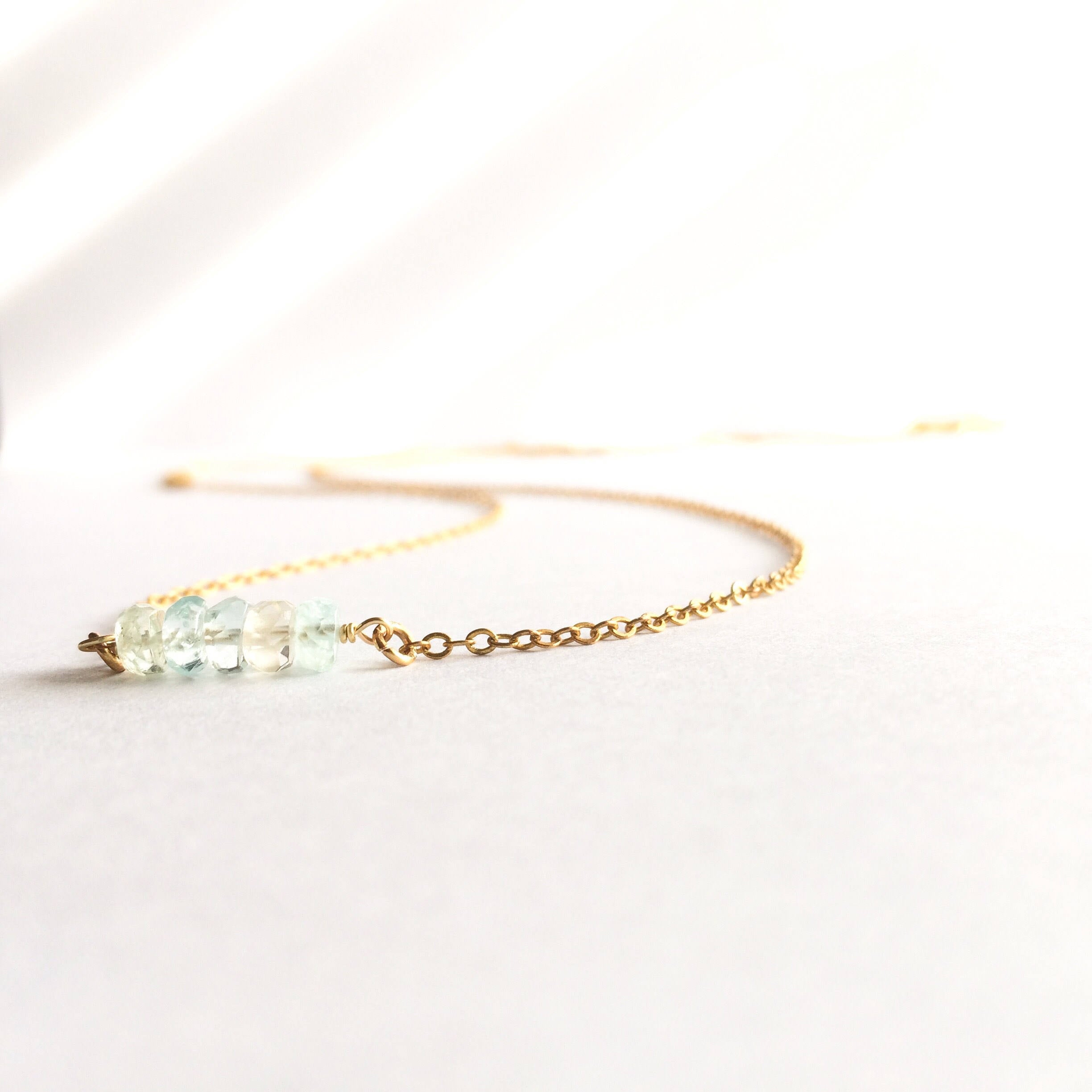 Delicate Tiny Ombre Aquamarine Gemstone Bar Necklace | IB Jewelry