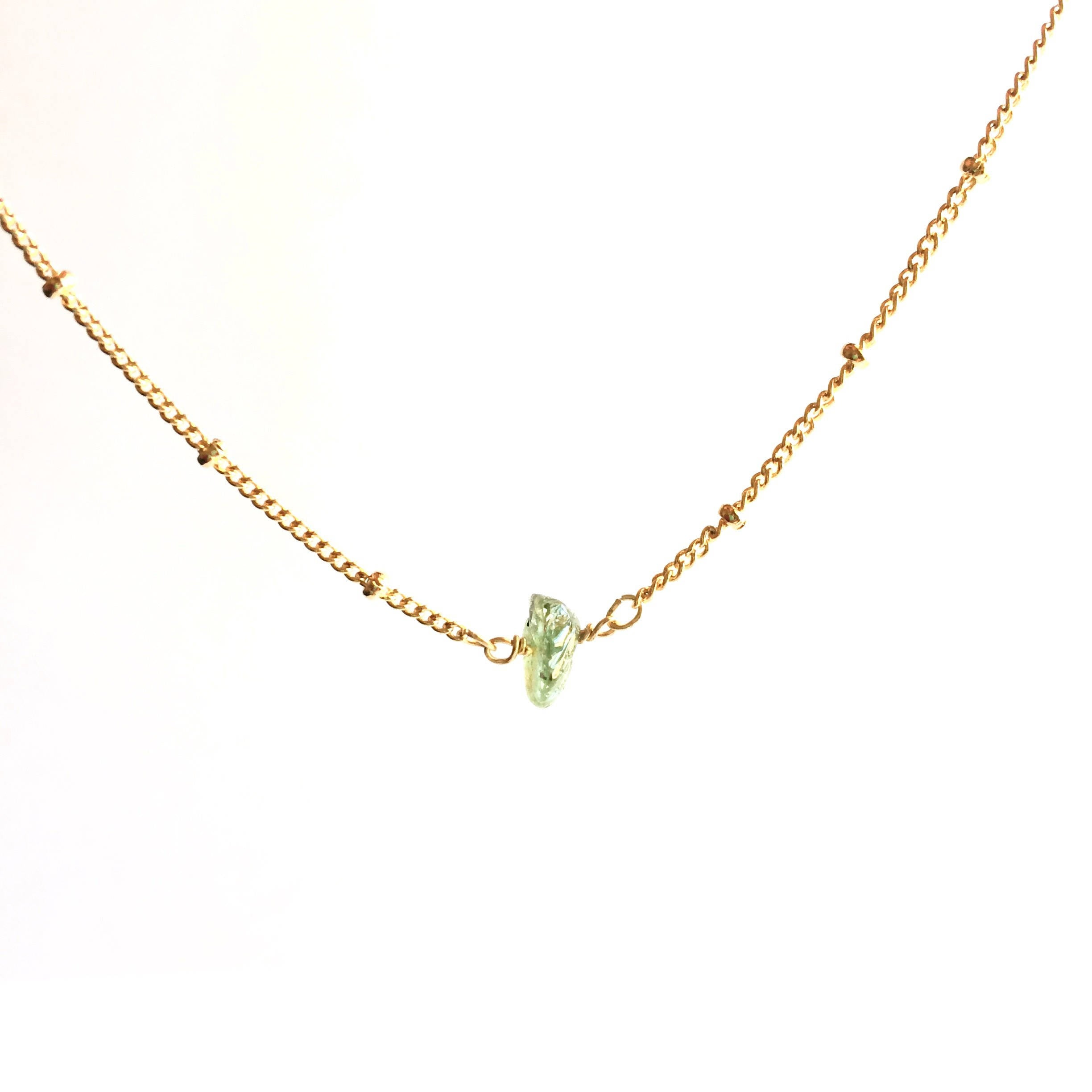 Simple Tiny Raw Emerald Satellite Chain Necklace | IB Jewelry