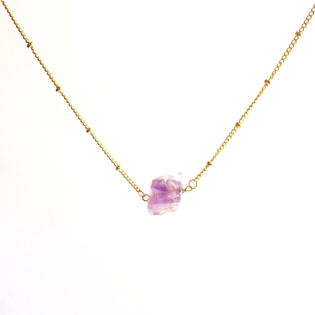 Raw Amethyst Satellite Chain Rough Gemstone Necklace | IB Jewelry