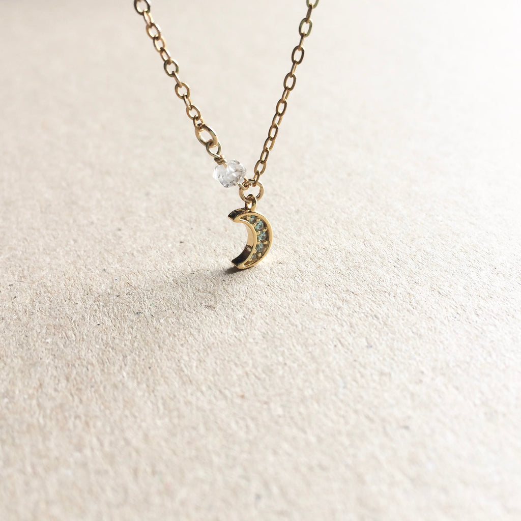 CZ Crystal Crescent Moon Herkimer Diamond Lunar Necklace | IB Jewelry
