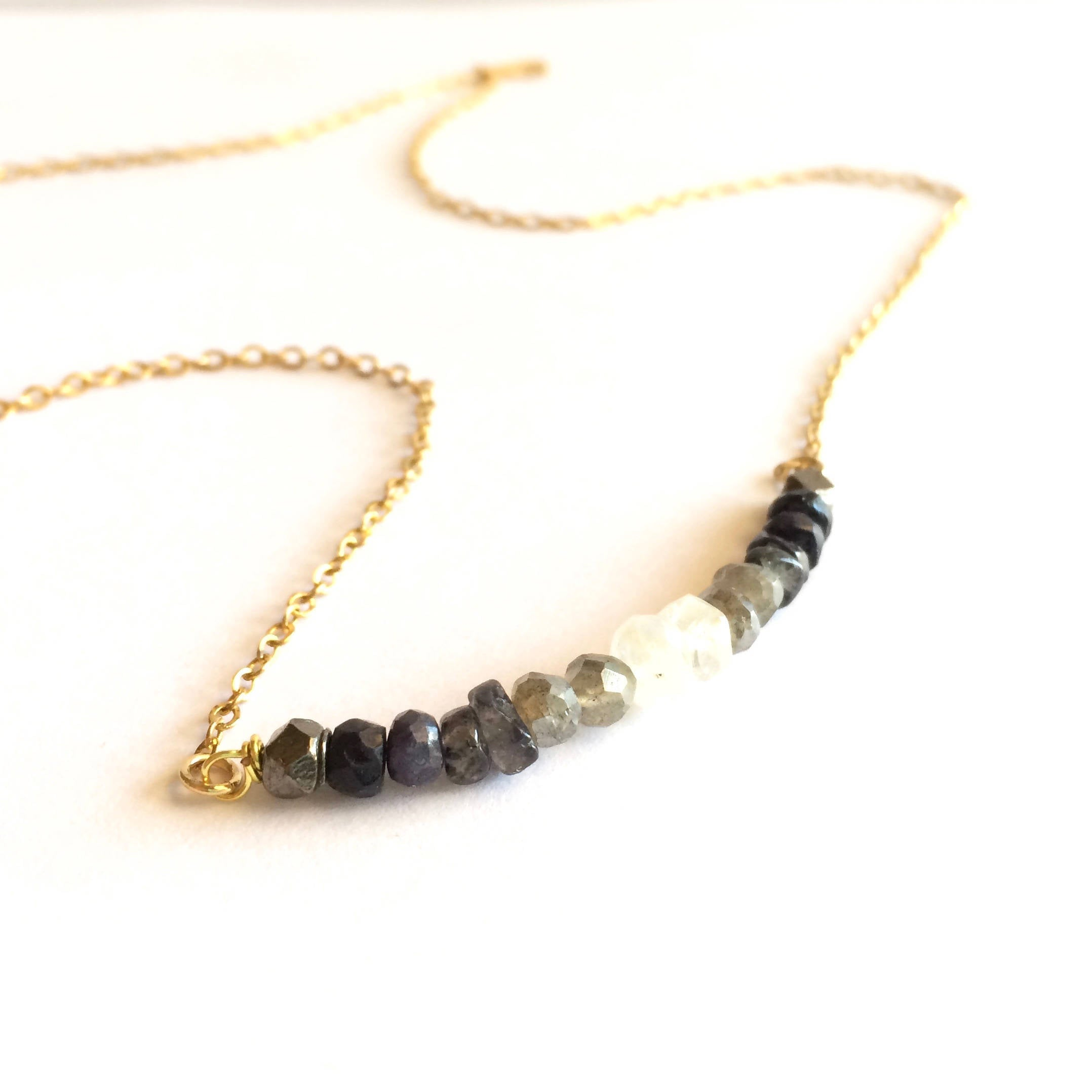 Delicate Moon Phase Ombre Gemstone Bar Necklace | IB Jewelry