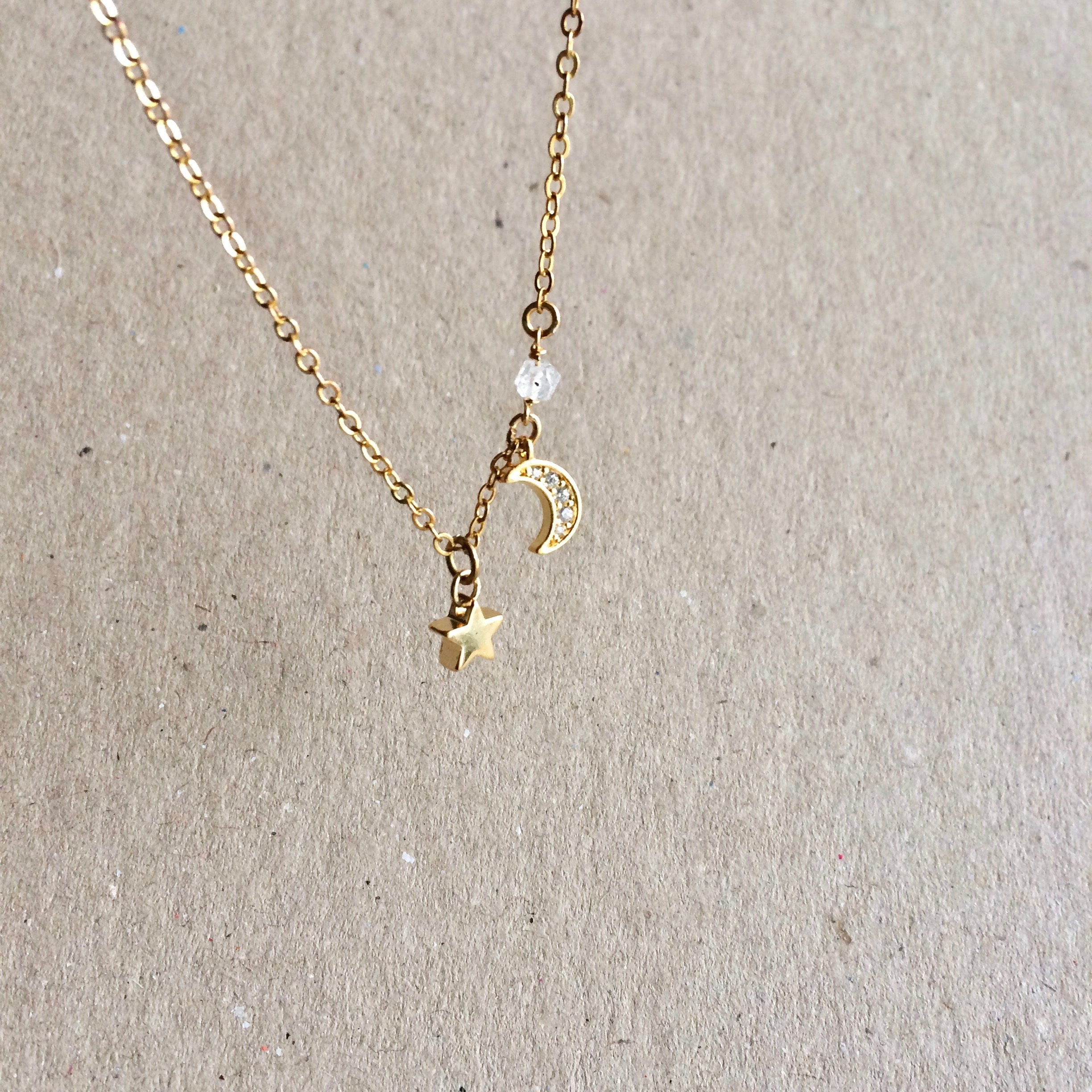 Tiny Moon & Star Herkimer Diamond Crystal Choker Necklace | IB Jewelry