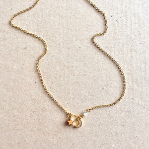 Dainty Crescent Moon & Star Herkimer Diamond Necklace | IB Jewelry