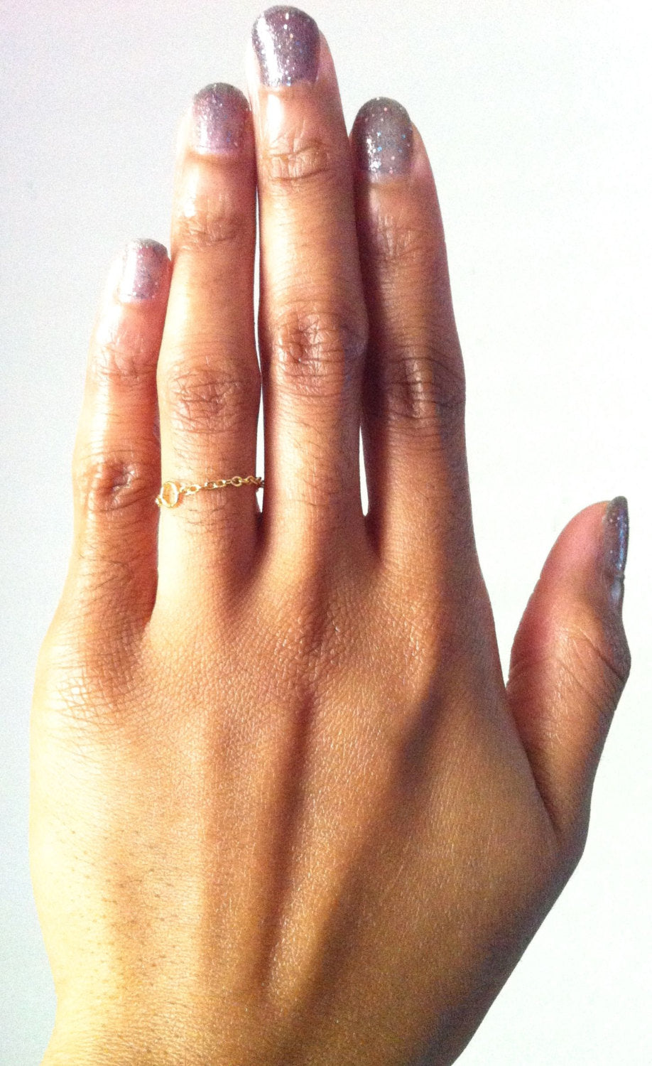 Dainty Minimalist Thin Chain Ring - Delicate Chain Ring | IB Jewelry