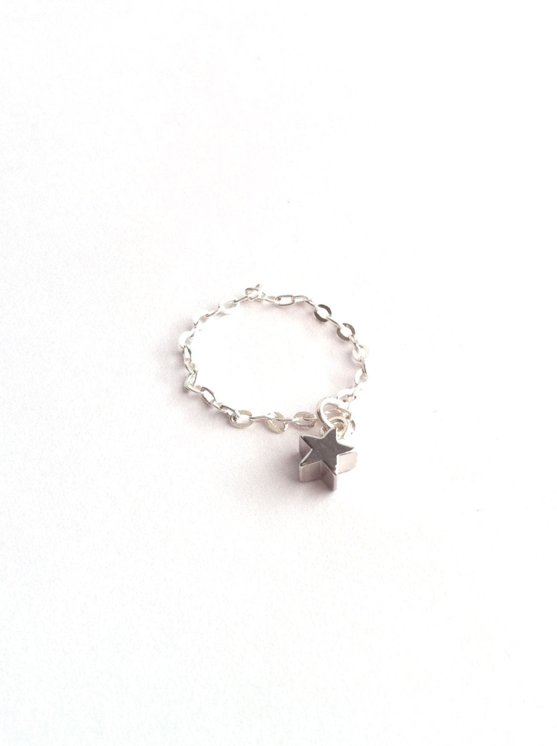 Tiny Star Charm Stacking Chain Ring | IB Jewelry
