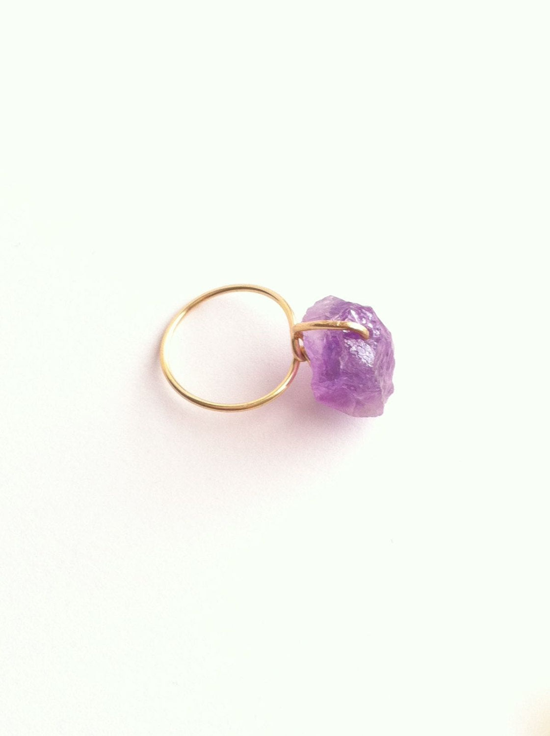 Raw Amethyst Rough Gemstone Thin Band Ring | IB Jewelry