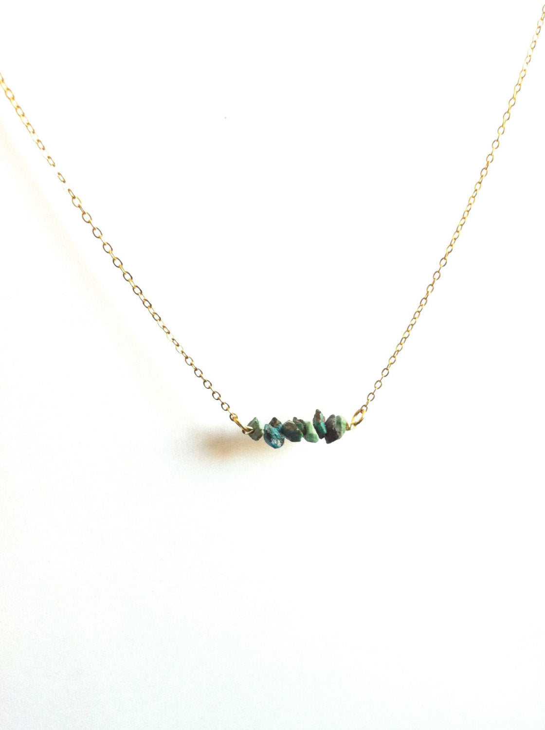 Tiny Raw Turquoise Gemstone Bar Necklace | IB Jewelry