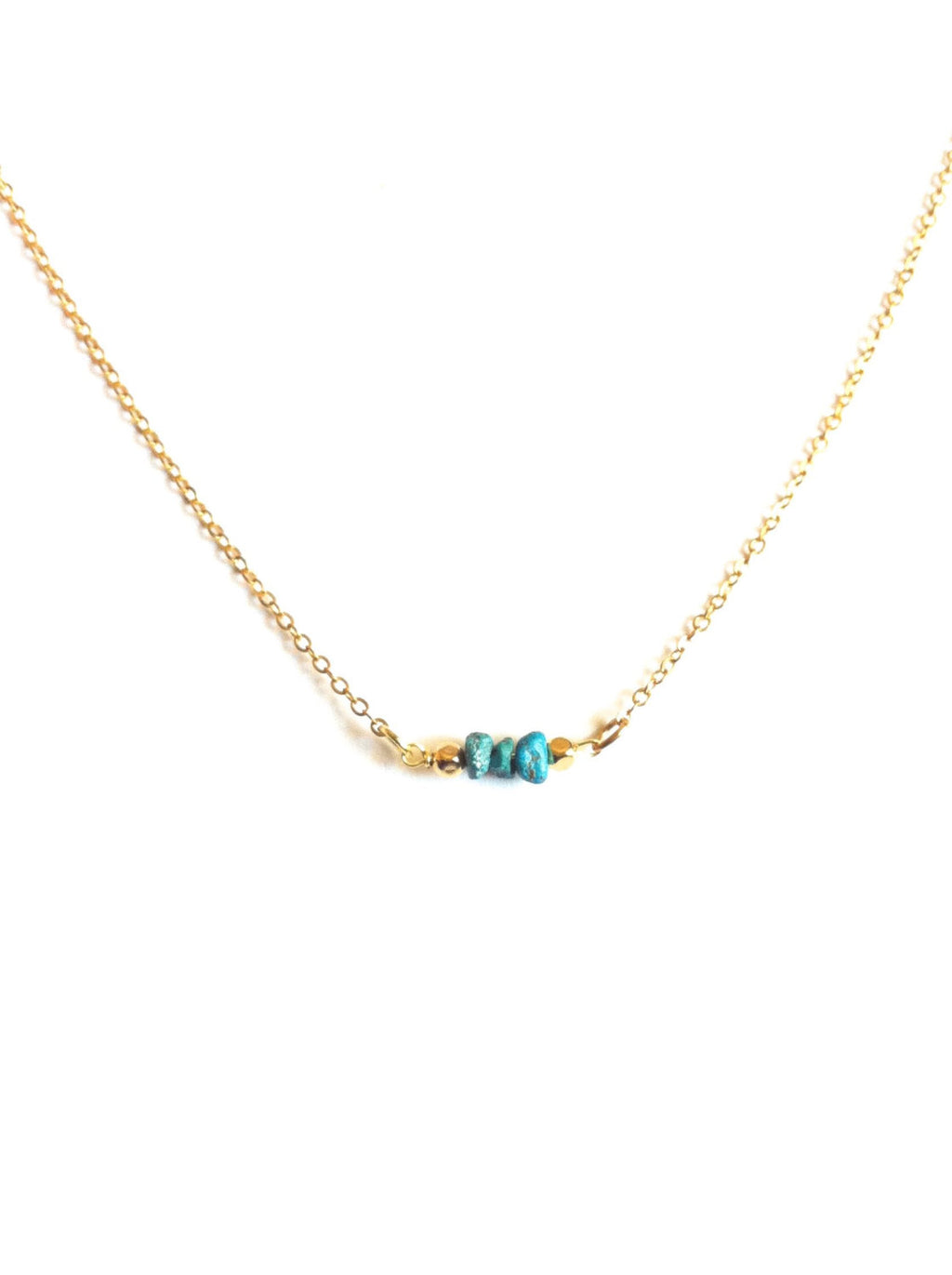 Tiny Turquoise Bead Short Bar Necklace | IB Jewelry