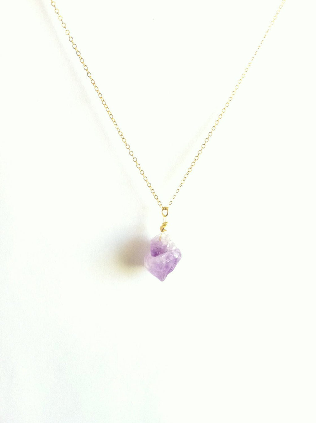 Delicate Raw Amethyst Gemstone Necklace | IB Jewelry